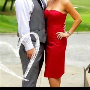 Sexy strapless Red sweetheart mid length dress